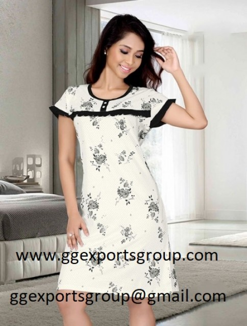 Black And White Floral Print Night Dress