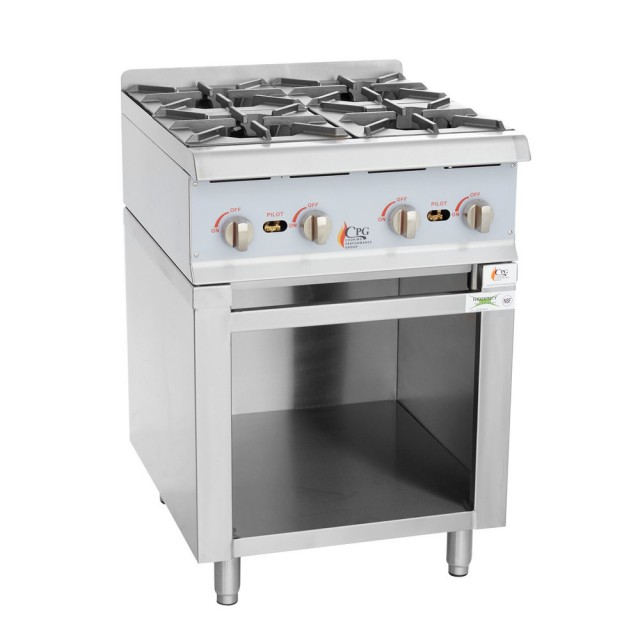 "Cooking Performance Group 24RSBNL Natural Gas 24"" 4 Burner Range / Hot Plate with Storage Base"