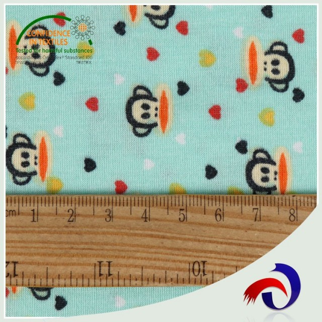 Wholesale single cartoon design textile 100 polyester fabric for sports jersey